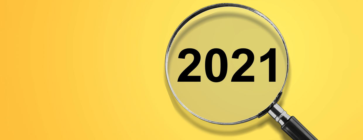 Magnifying glass with numbers 2021 underneath it