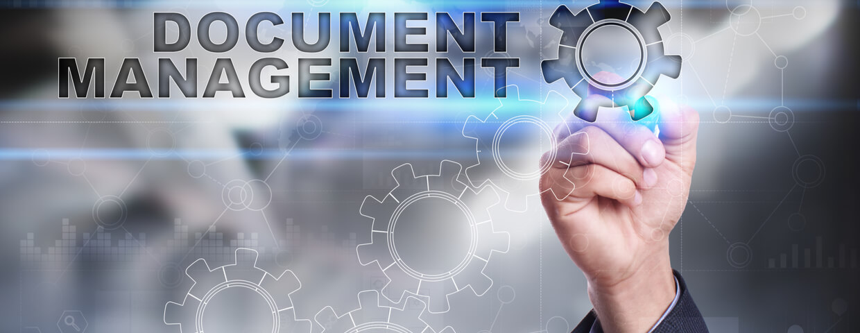 hand touching a digital sign that reads document management