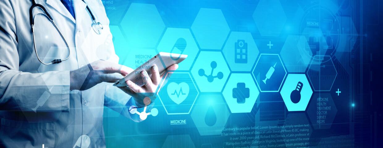 Healthcare worker holding tablet